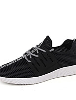 Men's Sneakers Spring Summer Comfort PU Tulle Casual Flat Heel Lace-up Blue Black White