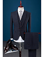 Suit Slim Fit Flatl Collar Single Breasted One-button Checks 3 Pieces Dark