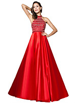 Formal Evening Dress Ball Gown Halter Sweep / Brush Train Satin with Beading