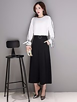 Women's Casual/Daily Work Cute T-shirt Pant Suits,Solid Round Neck