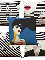 Set of 5 Fashion Decoration Pattern  Linen Pillowcase Sofa Home Decor Cushion Cover (18*18inch)