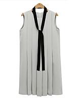 Для женщин На выход На каждый день Большие размеры Секси Простое Уличный стиль Свободный силуэт Платье Однотонный,Круглый вырезВыше