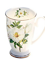 220ml de leite de cerâmica copo de café com tampa