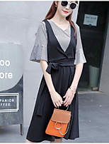Women's Casual/Daily Simple Summer T-shirt Dress Suits,Solid V Neck ½ Length Sleeve Cotton