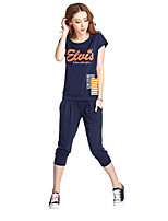 Women's Casual/Daily Sports Simple Active T-shirt Pant Suits,Letter Round Neck Short Sleeve strenchy