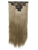 7pcs/Set 130g Grey Straight 50cm Hair Extension Clip In Synthetic Hair Extensions