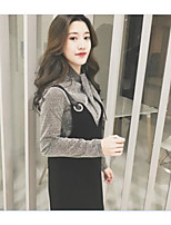 Women's Casual/Daily Simple Spring Hoodie Dress Suits,Solid Round Neck Long Sleeve Cotton Inelastic