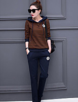 Women's Casual/Daily Simple Spring Hoodie Pant Suits,Solid Round Neck Long Sleeve Cotton Inelastic