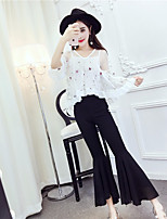 Women's Going out Sexy Sophisticated Blouse Dress Suits,Solid V Neck Lace Mesh Micro-elastic