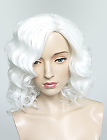 Wig White Short Deep Wavy Synthetic Wig For Women Party Costume Hairstyle Fashion Wig