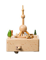 Music Box Square Famous buildings Model & Building Toy Wood Unisex