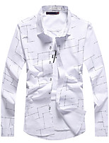 Men's Plus Size Casual/Daily Work Simple Street chic Chinoiserie Spring Fall Shirt,Solid Striped Shirt Collar Long Sleeve Cotton Polyester