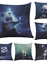 Set of 6  National Treasure Panda Pattern Linen Pillowcase Sofa Home Decor Cushion Cover  Throw Pillow Case (18*18inch)