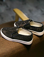 Girls' Loafers & Slip-Ons Spring Fall Comfort PU Outdoor Casual Low Heel Rhinestone Silver Black Walking