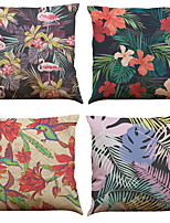 Set of 4 Tropical Flowers and Plants Pattern  Linen Pillowcase Sofa Home Decor Cushion Cover