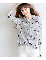 Women's Casual/Daily Simple Shirt,Striped Print Round Neck Long Sleeve Cotton
