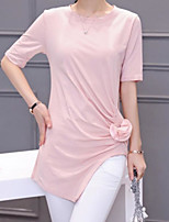 Women's Casual/Daily Simple T-shirt,Solid Round Neck ½ Length Sleeve Cotton Thin