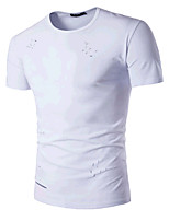 Dudian Men's Going out Simple Active Summer T-shirtGeometric Round Neck Short Sleeve Cotton Medium