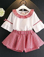 Girls' Casual/Daily Floral Plaid Sets,Cotton Rayon Acrylic Summer Short Sleeve Clothing Set