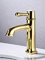 Art Deco/Retro Centerset Widespread with  Ceramic Valve Single Handle One Hole for  Ti-PVD , Bathroom Sink Faucet