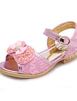 -Девочки-Для праздника Повседневный-Полиуретан-На низком каблуке-Крошечные Каблуки для подростков-Сандалии