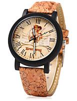 Mulheres Relógio Elegante Relógio de Moda Único Criativo relógio Chinês Quartzo Madeira Banda Vintage Desenhos Animados Casual Criativo