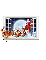 3D Christmas Wall Stickers Santa Claus Deer Wall Decals /Stickers Window Sticker Home Decoration For Festivals