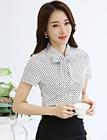 Women's Casual/Daily Simple Summer Shirt,Print Stand Short Sleeve Polyester Medium