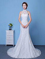 Sheath / Column Wedding Dress Floor-length High Neck Cotton Lace Tulle with Appliques Lace Pattern Sequin