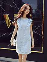 DABUWAWA Women's Going out Casual/Daily Holiday Cute Street chic Sophisticated Shift Sheath Lace DressSolid Round Neck Above Knee Sleeveless