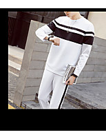 Men's Casual/Daily Simple Activewear Set Color Block Round Neck Micro-elastic Polyester Long Sleeve Spring