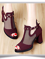 Women's Sandals Spring Club Shoes PU Casual Chunky Heel Burgundy Black
