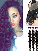 Loose Wave 360 Lace Frontal Closure With Bundles 3Pcs Indian Human Hair Weave With 360 Lace Frontal 8A 360 Lace Virgin Hair Frontal