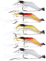 5 pcs Soft Bait Fishing Hooks Fishing Lures Jerkbaits Craws / Shrimp Soft Bait Multicolored Transparent g/Ounce,90 mm/3-1/2