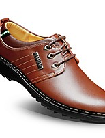 Men's Oxfords Summer Fall Formal Shoes Comfort Cowhide Wedding Office & Career Casual Flat Heel Split Joint Navy Blue Brown Black Walking