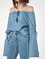 Damen Solide Sexy Einfach Street Schick Ausgehen Lässig/Alltäglich T-shirt,Rundhalsausschnitt Sommer Langarm Seide Baumwolle Mittel