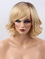 Prevailing radient Color  Partial Fringe  Medium Long Curly Hair Human Hair Wig Woman hair