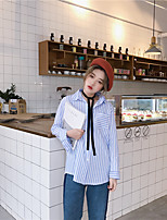 Women's Casual/Daily Simple Shirt,Striped Square Neck Long Sleeve Cotton Medium