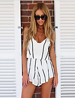 Women's Going out Casual/Daily Street chic Sophisticated Blouse Dress Suits,Striped Deep V