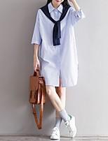 Feminino Camisa Social Casual SimplesListrado Algodão Decote Quadrado Manga ¾