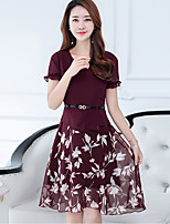 Women's Plus Size Going out Street chic Sheath Dress,Floral Patchwork V Neck Knee-length Short Sleeve Polyester Summer Mid Rise