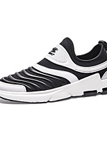 Men's Sneakers Spring Summer Fall Winter Comfort Fabric Leatherette Outdoor Athletic Casual Black/White Black Walking