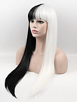 Popular Black White Mixed Color Long Straight Synthetic Wigs For Afro Women