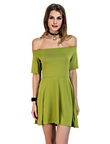 Women's Casual/Daily Work Simple Sheath Dress,Solid Off Shoulder Mini Short Sleeve Polyester All Seasons Low Rise Micro-elastic Medium