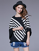Women's Going out Casual/Daily Street chic Spring Summer T-shirt,Striped Round Neck ¾ Sleeve Cotton Spandex Medium