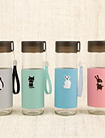 2Pcs Cartoon Drinkware 400 ml Portable Glass Water Water Bottle Random Pattern