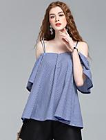 여성 프린트 스트랩 짧은 소매 셔츠,심플 귀여운 스트리트 쉬크 데이트 캐쥬얼/데일리 작동 면 여름 얇음