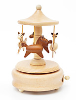 Music Box Circular Novelty & Gag Toys Wood Unisex