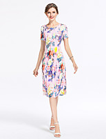 8CFAMILY Women's Going out Casual/Daily Party Sexy Vintage Sophisticated Bodycon Sheath DressFloral Round Neck Knee-length Short Sleeve Polyester