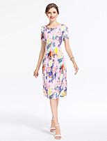 Для женщин На выход На каждый день Вечеринка/коктейль Секси Винтаж Изысканный Облегающий силуэт Оболочка Платье Цветочный принт,Круглый